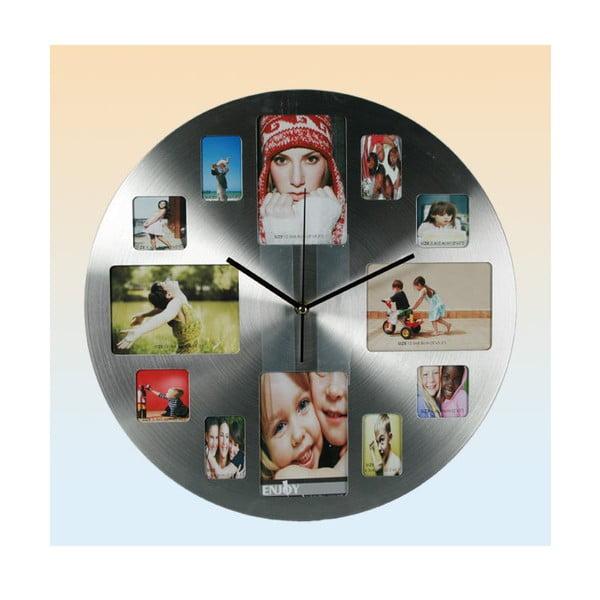 Nástěnné hodiny Family, stříbrné