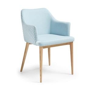Scaun cu picioare din lemn și cotiere La Forma Danai, albastru