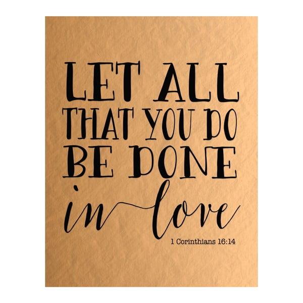 Plakát v dřevěném rámu Let all, 38x28 cm