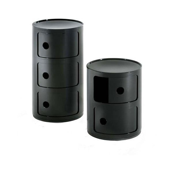 Černý kontejner se 3 zásuvkami Kartell Componibili