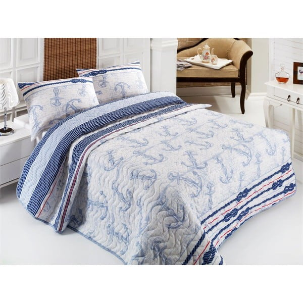Set cuvertură și fețe de pernă Eponj Home Capa Light Blue, 200 x 220 cm