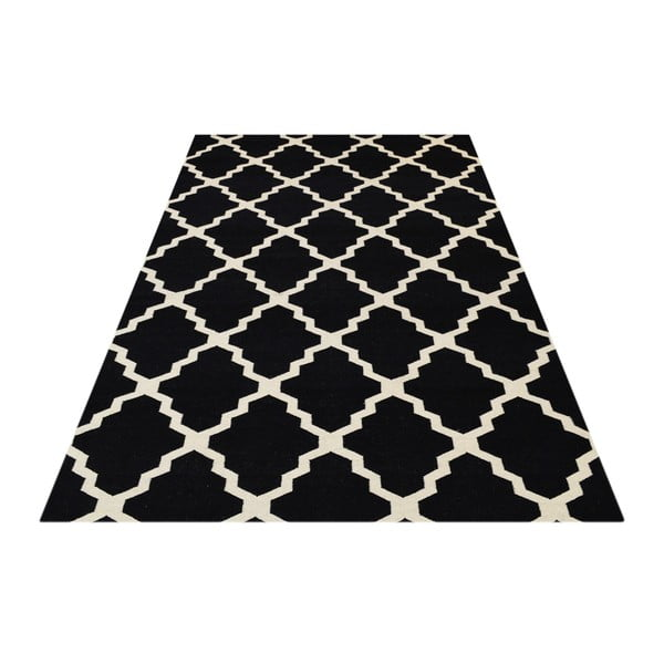 Vlněný koberec Kilim Jasmina Black, 200x290 cm