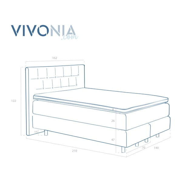 Světle šedá boxspring postel VivonitaKoso, 140x200cm