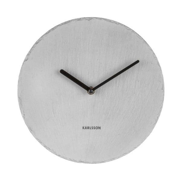 Šedé nástěnné břidlicové hodiny Karlsson Slate, ⌀25 cm
