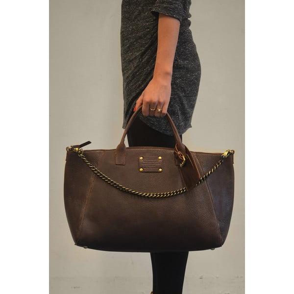 Kožená kabelka Fly Violet maxi, čokoládová