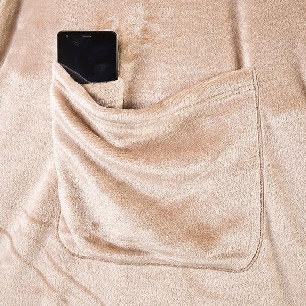 Béžová televizní deka z mikrovlákna DecoKing Lazy, 180x150cm