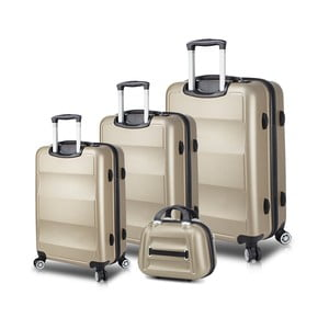 Sada 3 cestovních kufrů na kolečkách s USB porty a příručního kufříku ve zlaté barvě My Valice LASSO Travel Set