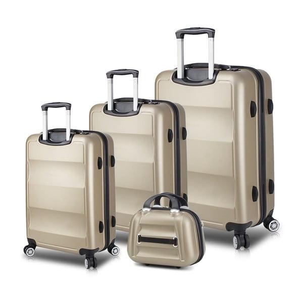 Zestaw 3 walizek na kółkach z USB i kuferka podróżnego w kolorze złota My Valice LASSO Travel Set