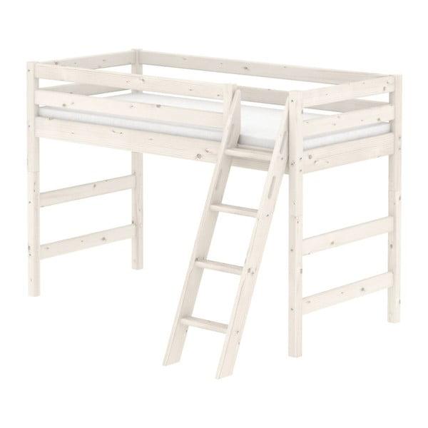 Bílá dětská středně vysoká postel se žebříkem z borovicového dřeva Flexa Classic, 90x200cm