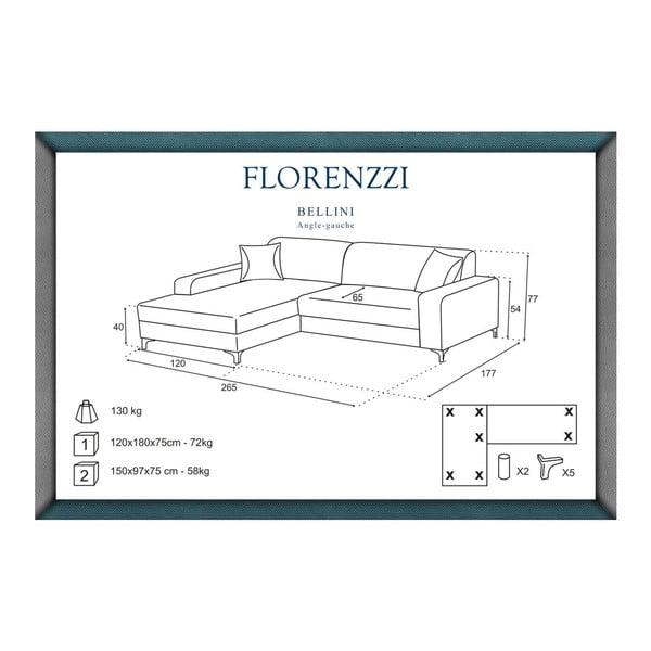 Hnědá pohovka Florenzzi Bellini s lenoškou na levé straně