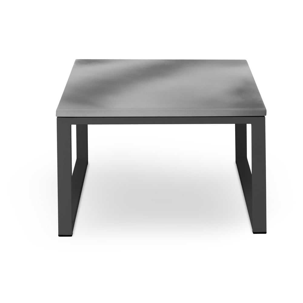 Šedý venkovní stůl v betonovém dekoru a černém rámu Calme Jardin Nicea, délka 60 cm