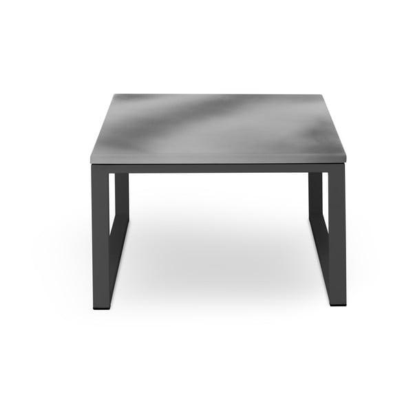 Nicea szürke kültéri asztal beton díszítéssel, fekete kerettel, hossz 60 cm - Calme Jardin