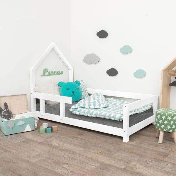 Białe drewniane łóżko dziecięce Benlemi Pippi, 90x160 cm
