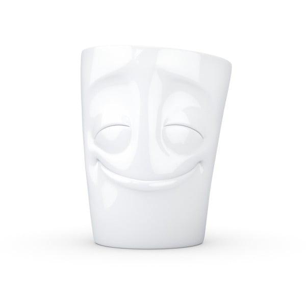 Biały zadowolony kubek z uchem 58products, 350 ml