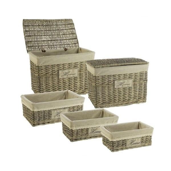 Set 5 proutěných boxů Cosas de Casa Chic Home, tmavý