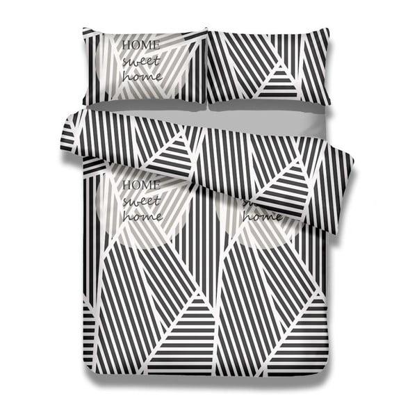 Sada bavlněného povlaku na peřinu a 2 povlaků na polštáře AmeliaHome Averi Sweet Home Light, 200 x 200 cm + 63 x 63 cm