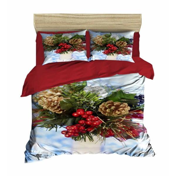 Sada obliečky a plachty na dvojposteľ Christmas Berries, 200×220 cm