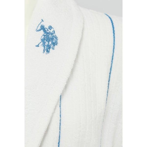 Bílý pánský župan s modrým detailem U.S. Polo Assn Casper, vel. S/M