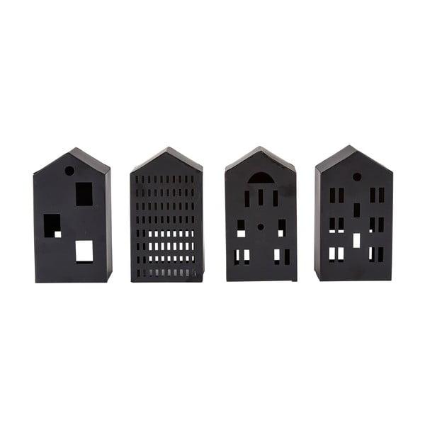 Sada 4 čiernych figúrok v tvare domčeka Villa Collection