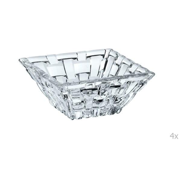Sada 4 čtvercových misek na dip z křišťálového skla Nachtmann Bossa Nova, 8,5 x 8,5 cm