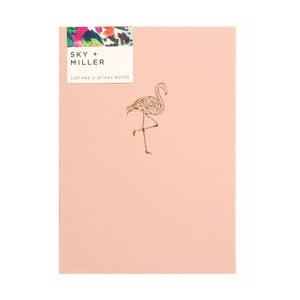 Světle růžový poznámkový blok se sadou lepících papírků Portico Designs Flamingo, 60 stránek