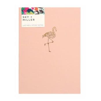 Caiet notițe cu bloc notițe adezive Portico Designs Flamingo, 60 file, roz deschis de la Portico Designs