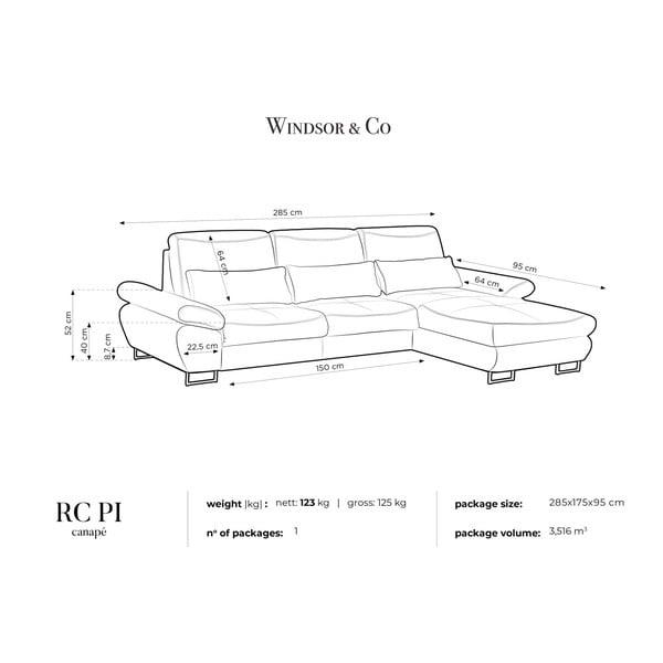 Tyrkysová rozkládací rohová pohovka Windsor & Co Sofas Pi, pravý roh