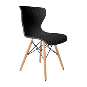 Černá židle s bukovým podnožím Crow