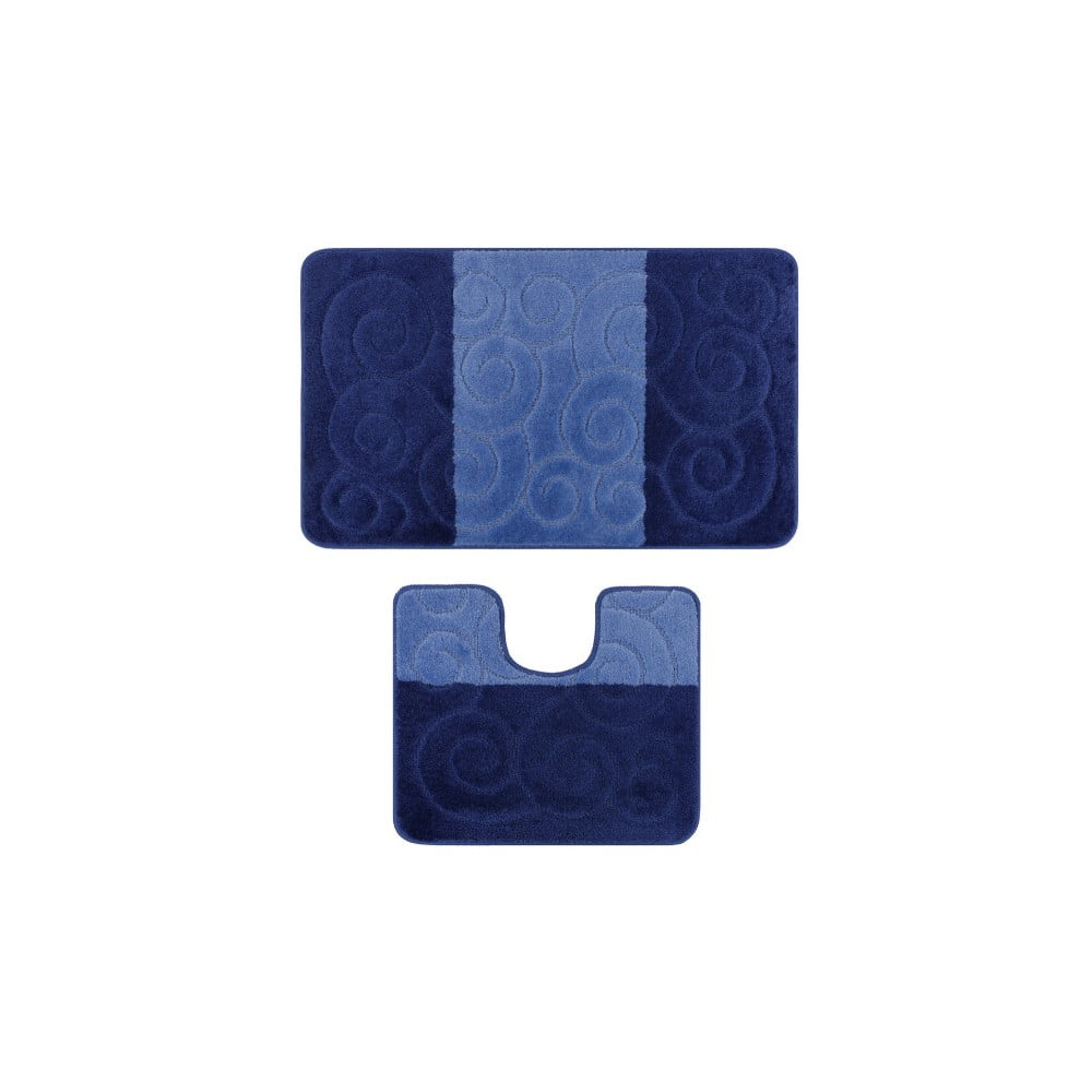 Sada 2 modrých koupelnových předložek Madame Coco Bloom