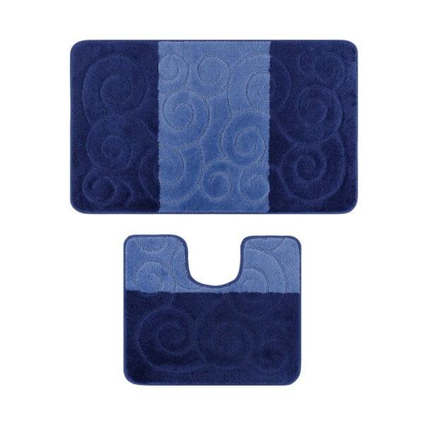 Zestaw 2 niebieskich dywaników łazienkowych Madame Coco Bloom