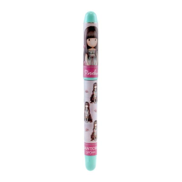 Modro-růžové kuličkové pero s náplněmi Santoro London Rosebud
