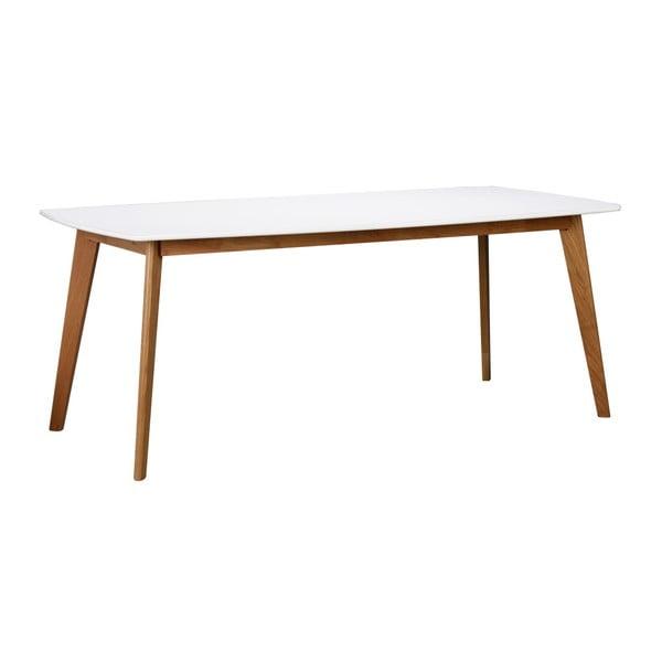 Bílý jídelnístůl s dřevěnými nohami Rowico Griffin, délka 190 cm