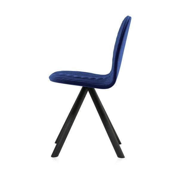 Scaun cu picioare negre Iker Mannequin Wave, albastru închis