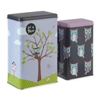 Set 2 cutii depozitare din tablă Premier Housewares Barber Happy Owls