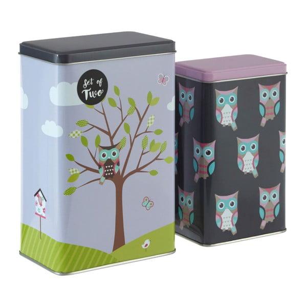 Sada 2 cínových úložných boxů Premier Housewares Barber Happy Owls