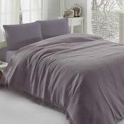 Fialový lehký přehoz přes postel Pique, 220x240cm