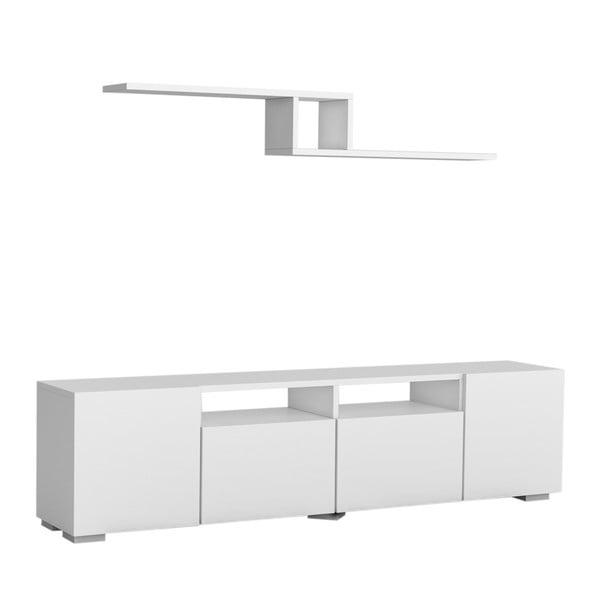 Zestaw białej szafki pod TV półki ściennej Bellini