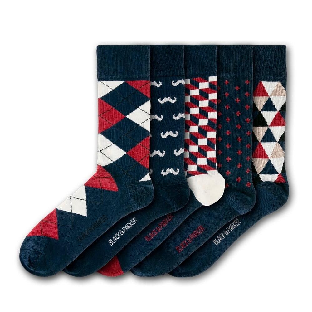 c715a232baa Sada 5 párů ponožek Black   Parker London Holbrook Garden