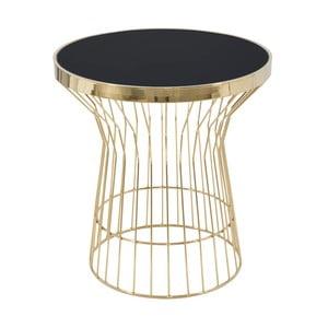 Kulatý konferenční stůl v černo-zlaté barvě Mauro Ferretti Glam, výška 63 cm