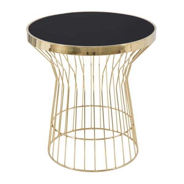 Masă rotundă de cafea Mauro Ferretti Glam, înălțime 63 cm, negru - auriu