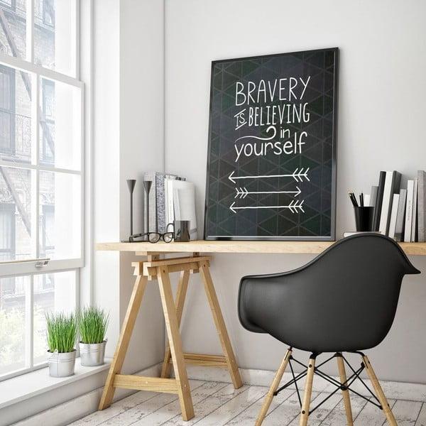 Plakát v dřevěném rámu Bravery, 38x28 cm