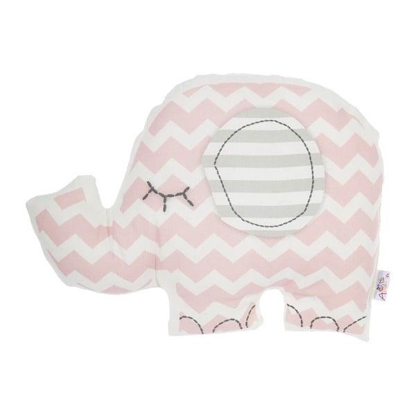 Pernă din amestec de bumbac pentru copii Apolena Pillow Toy Elephant, 34 x 24 cm, roz