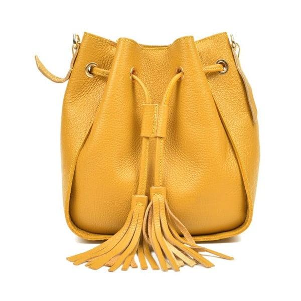 Geantă din piele Carla Ferreri Jessie, galben