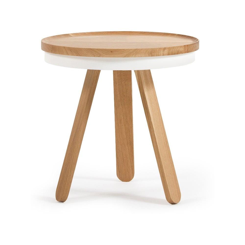 Přírodno-bílý odkládací stolek z dubového dřeva s podnosem Woodendot Batea S