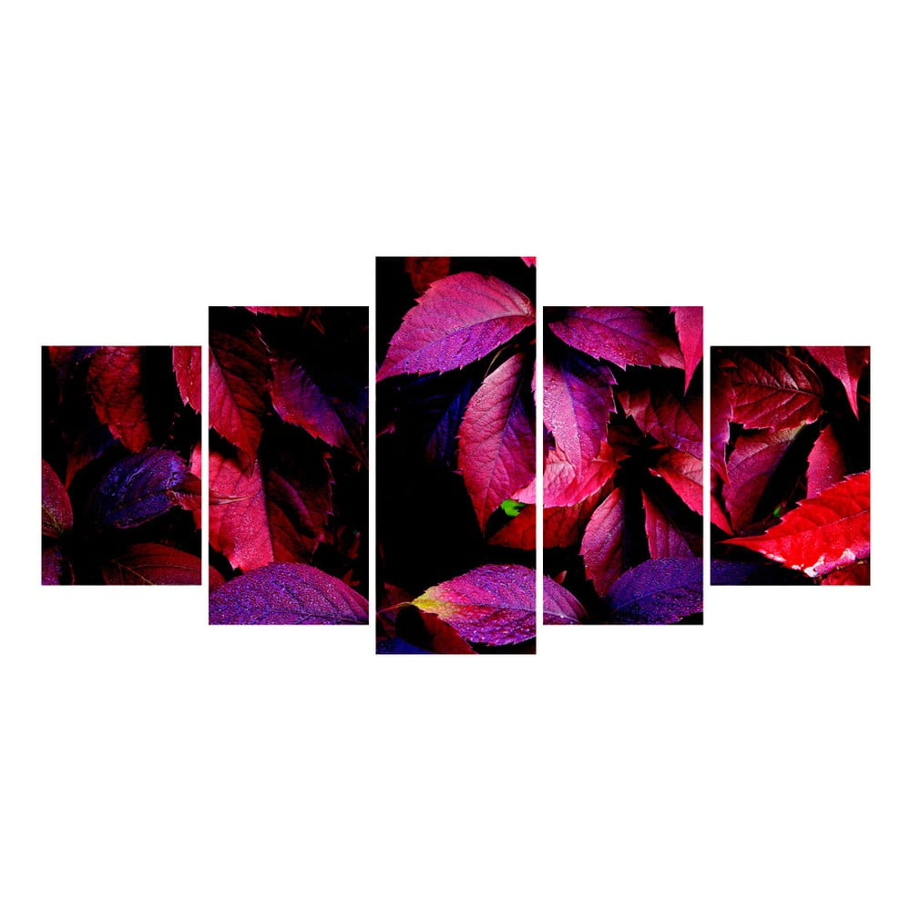 tablou din 5 piese la maison des couleurs purple leaves bonami. Black Bedroom Furniture Sets. Home Design Ideas
