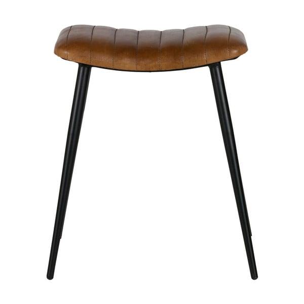 Stolička s olivovozeleným koženým sedadlom BePureHome Hunt