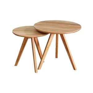 Sada 2 přírodních odkládacích stolků z dubového dřeva Folke Yumi