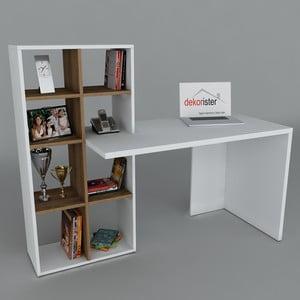 Pracovní stůl s knihovnou Win White/Walnut, 60x151x123,6 cm