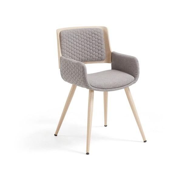 Šedá židle s kovovým podnožím a područkami La Forma Andre