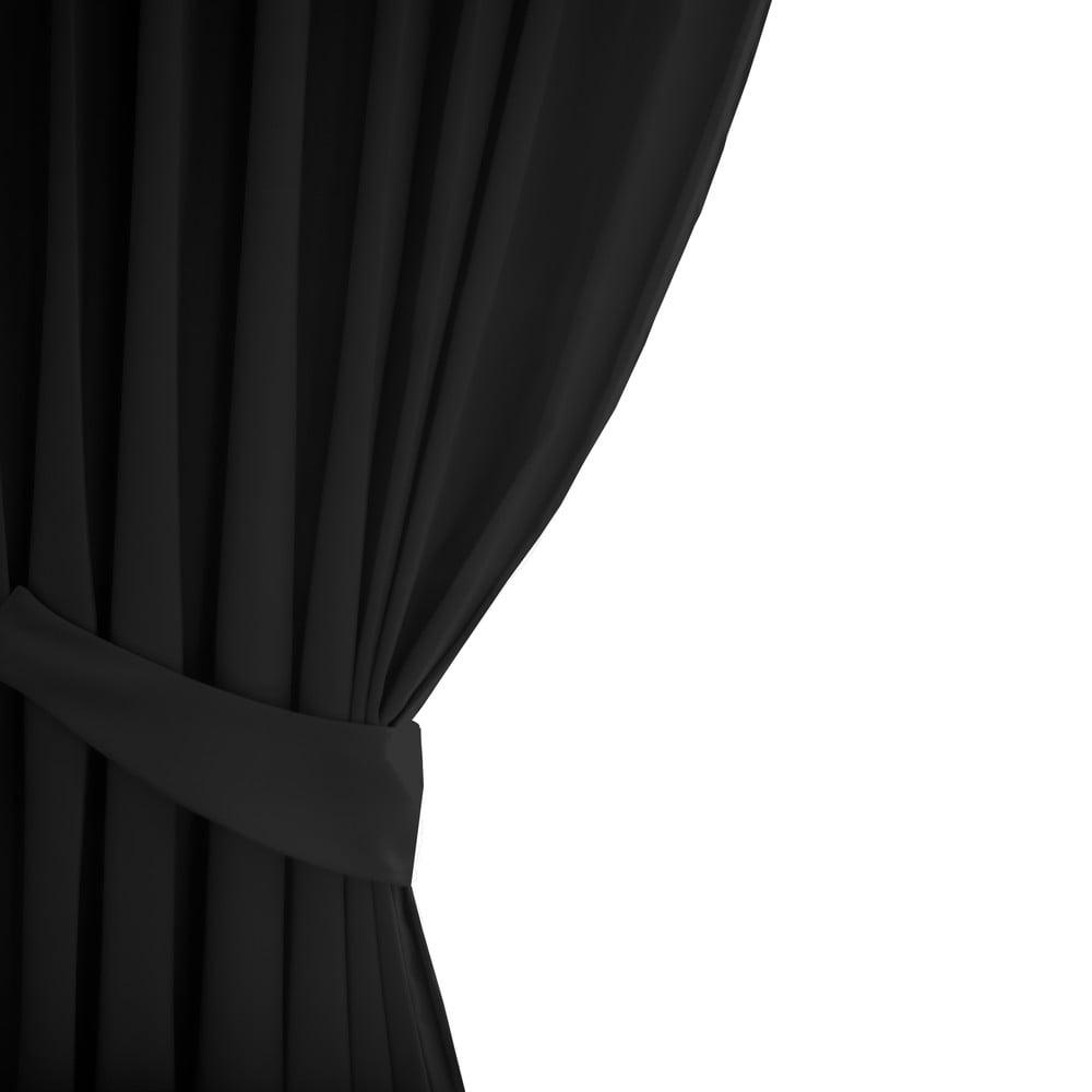 Černý závěs AmeliaHome Eyelets Black, 140 x 245 cm